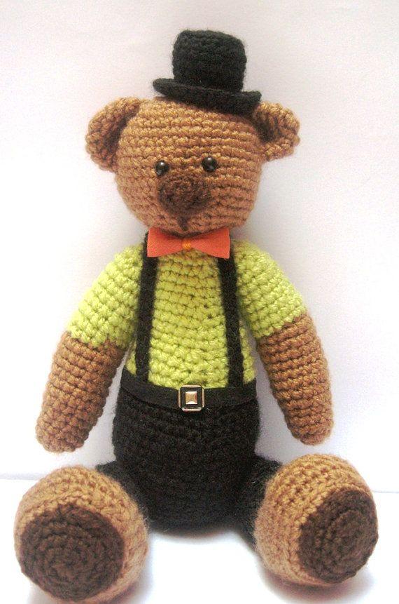 Cute Bear Crochet PATTERN with Top Hat by FairyDustPatterns ...