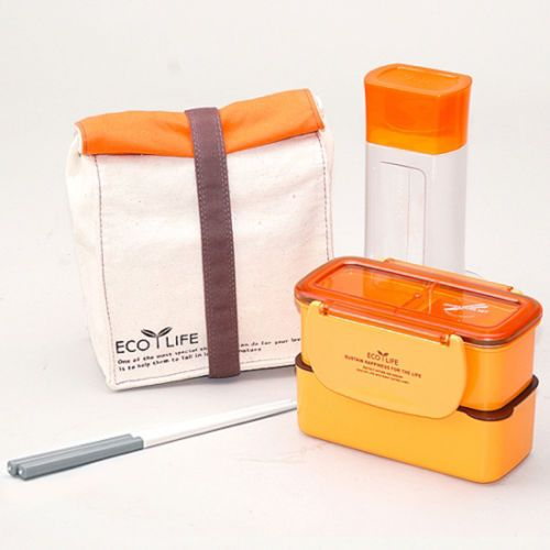 lock lock mini lunch box with bag and water bottle orange. Black Bedroom Furniture Sets. Home Design Ideas