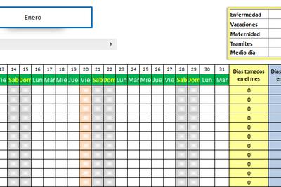 Planilla De Excel De Calendario De Vacaciones De Empleados Calendario De Vacaciones Plantillas Excel Tablero De Control Excel