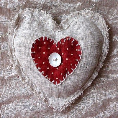 MOP button, rough burlap, big stitching