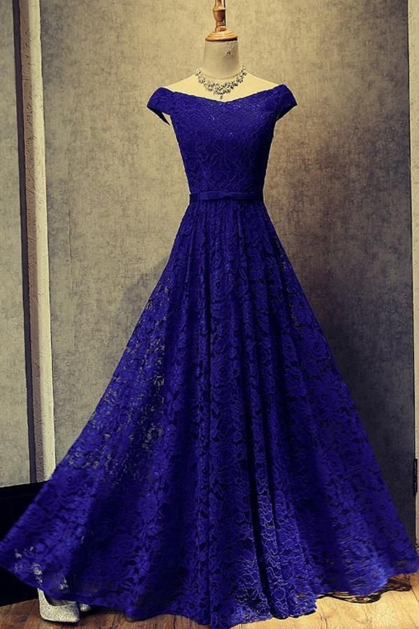 Outlet Trendy Prom Dresses Lace Simple Royal Blue A-Line Lace Off ...
