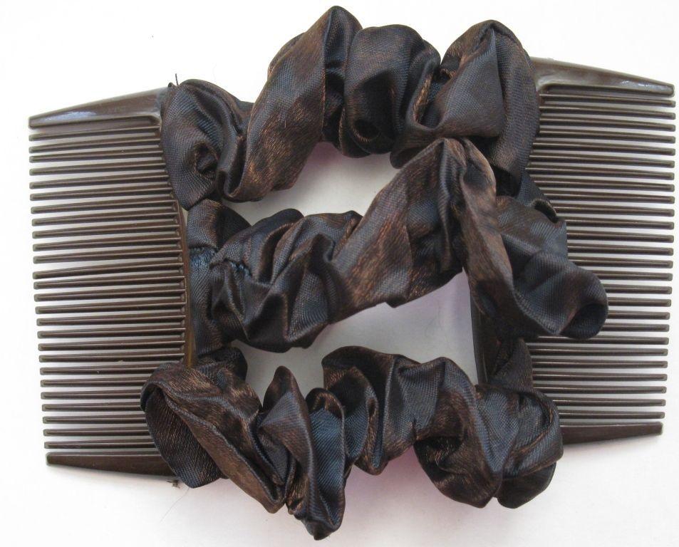 dark red satin fabric material double elastic stretch hair comb bun maker