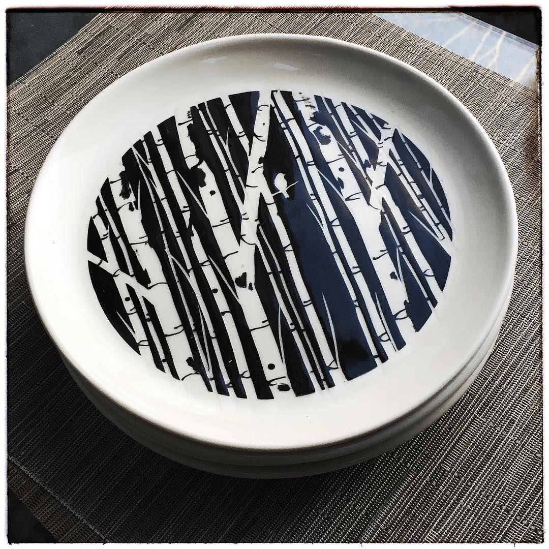 Hand Drawn Birch Tree Handmade Porcelain Plate