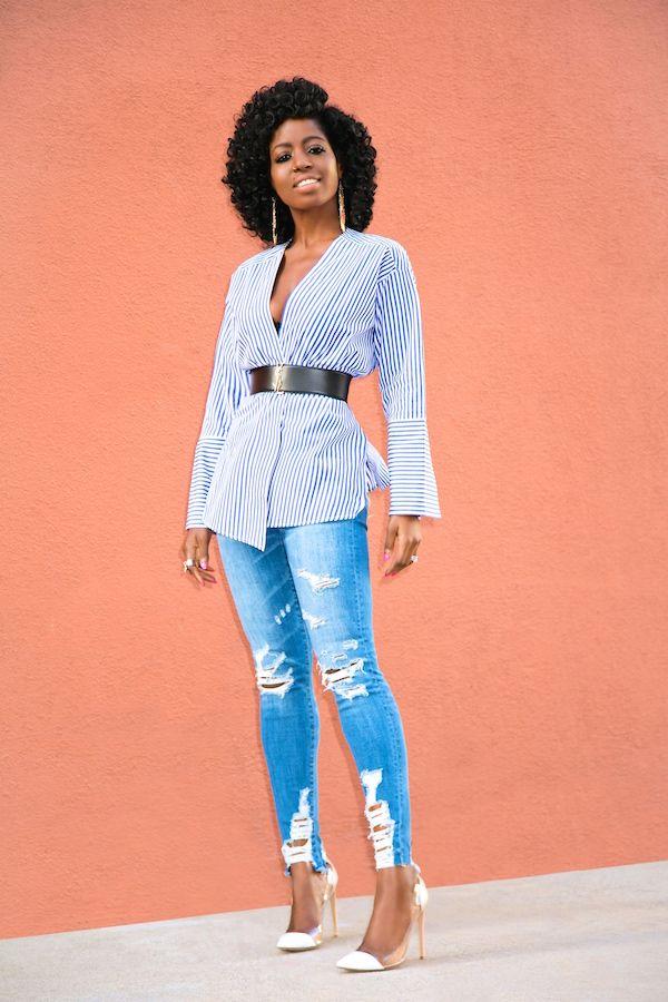 db4ac38323d33 Striped Wrap Blouse + Distressed Skinny Jeans Wrap Blouse
