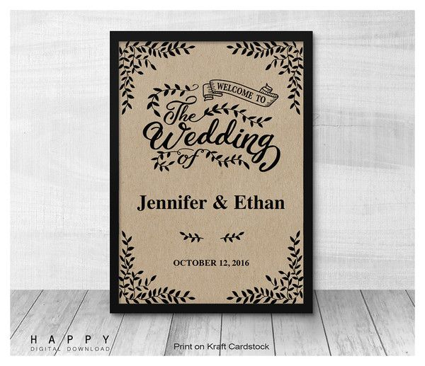 Rustic Leaves Welcome Sign Template Wedding