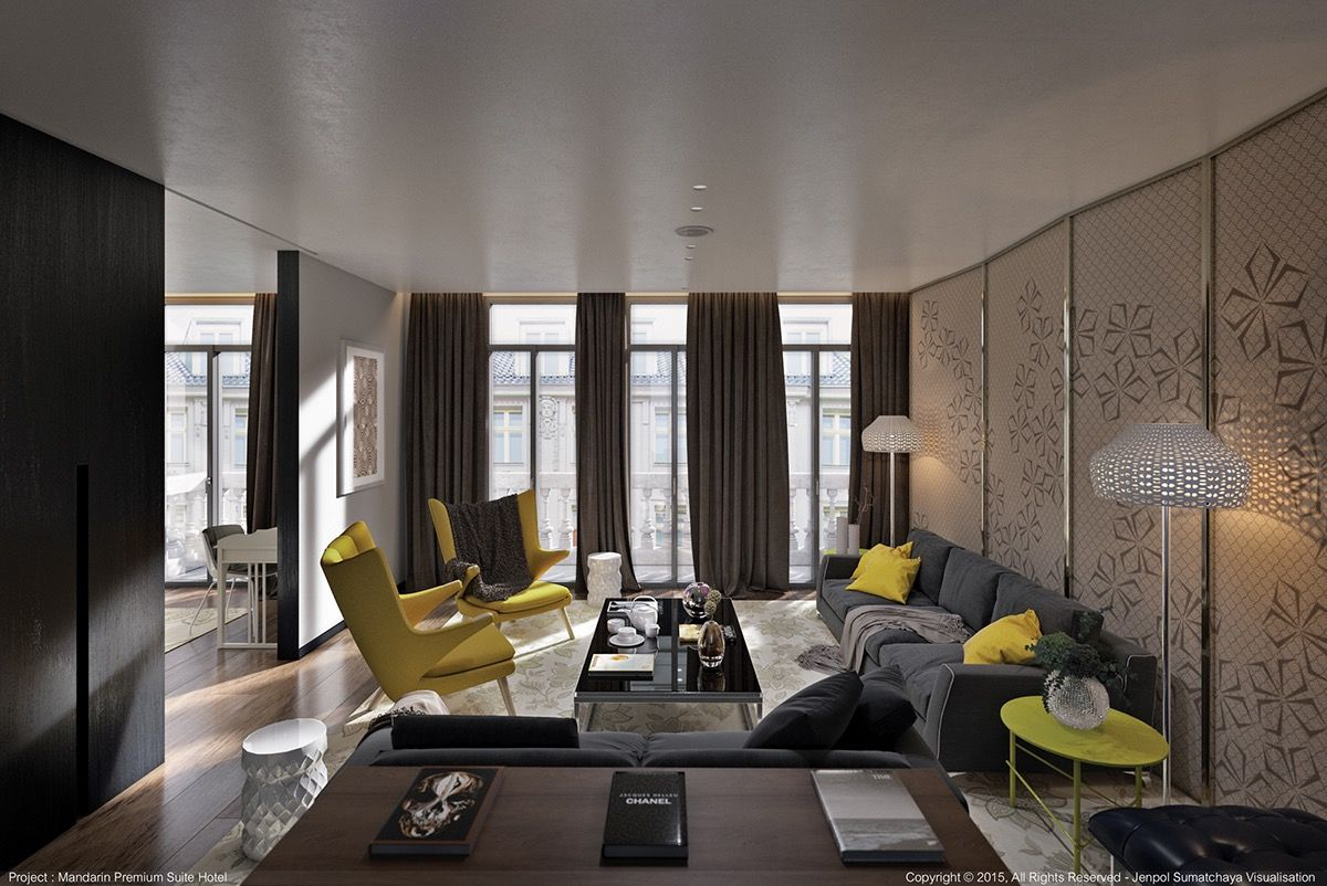 Awesome Gorgeous Yellow Accent Living Room