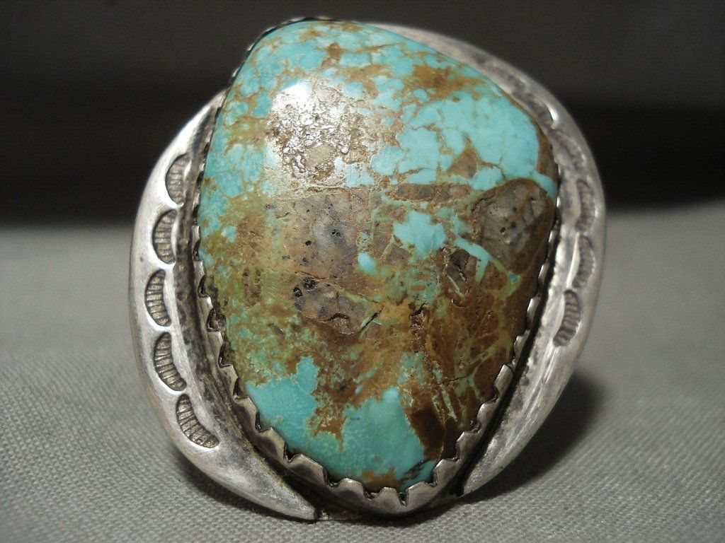 One Of The Biggest Ever Vintage Navajo Royston Turquoise Silver Ring Old