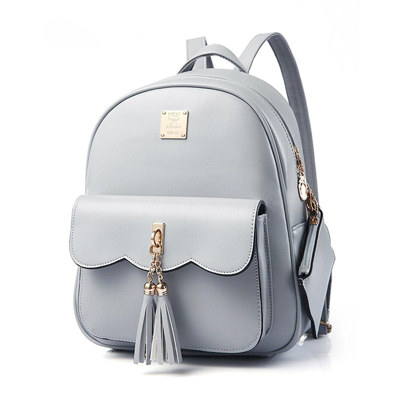 Vintage Tassel Backpack for Teen Girls, Yimoji PU Leather Small Backpack  Travel Rucksack Grey  Amazon.co.uk  Shoes   Bags (Affiliate) 149c5e754f