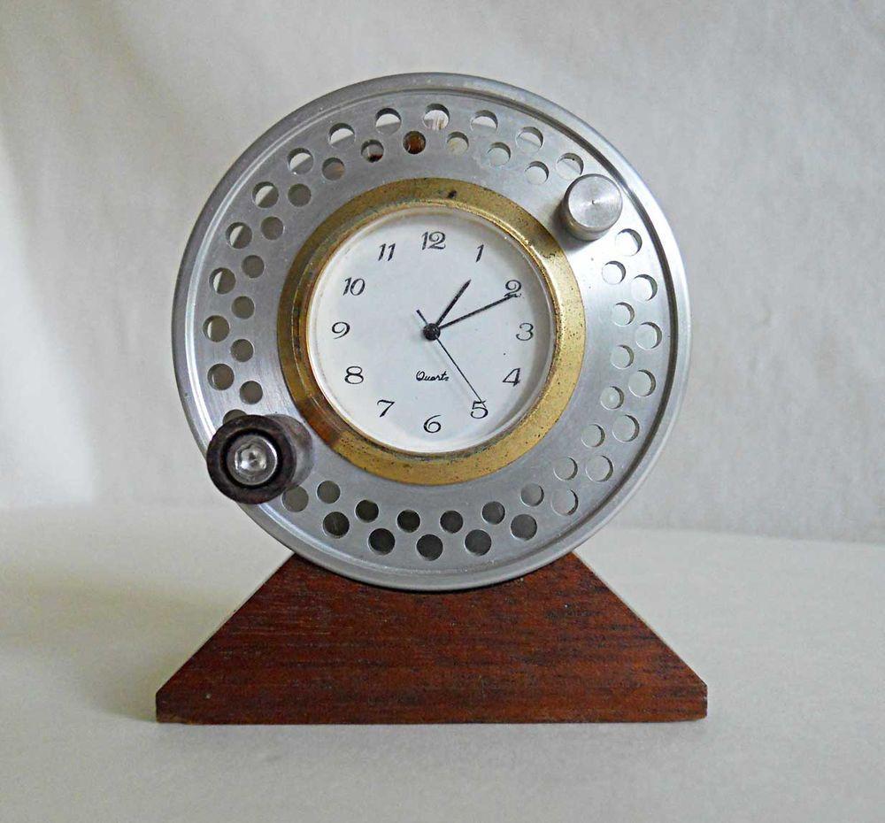 Vintage Aluminum Fly Fishing Reel Clock Machined Quartz Marine Modernist Decor