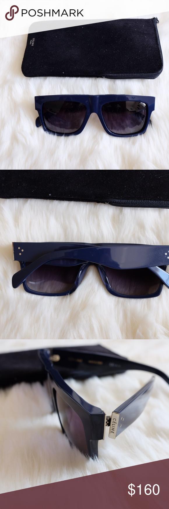 e4c12fad457 Celine ZZ Flat Top Polarized Navy Blue Sunglasses Retail   --