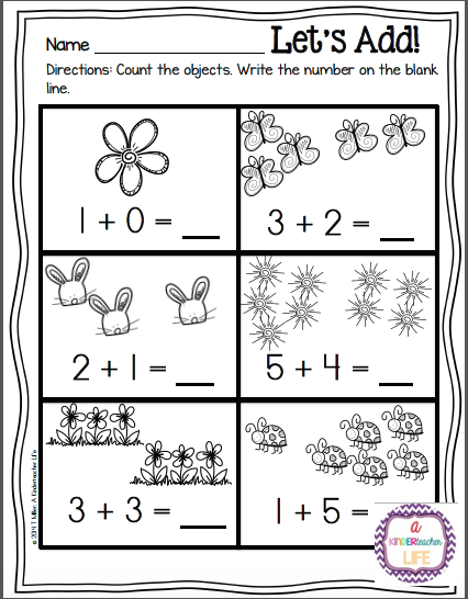 Spring themed simple addition worksheets (counting on