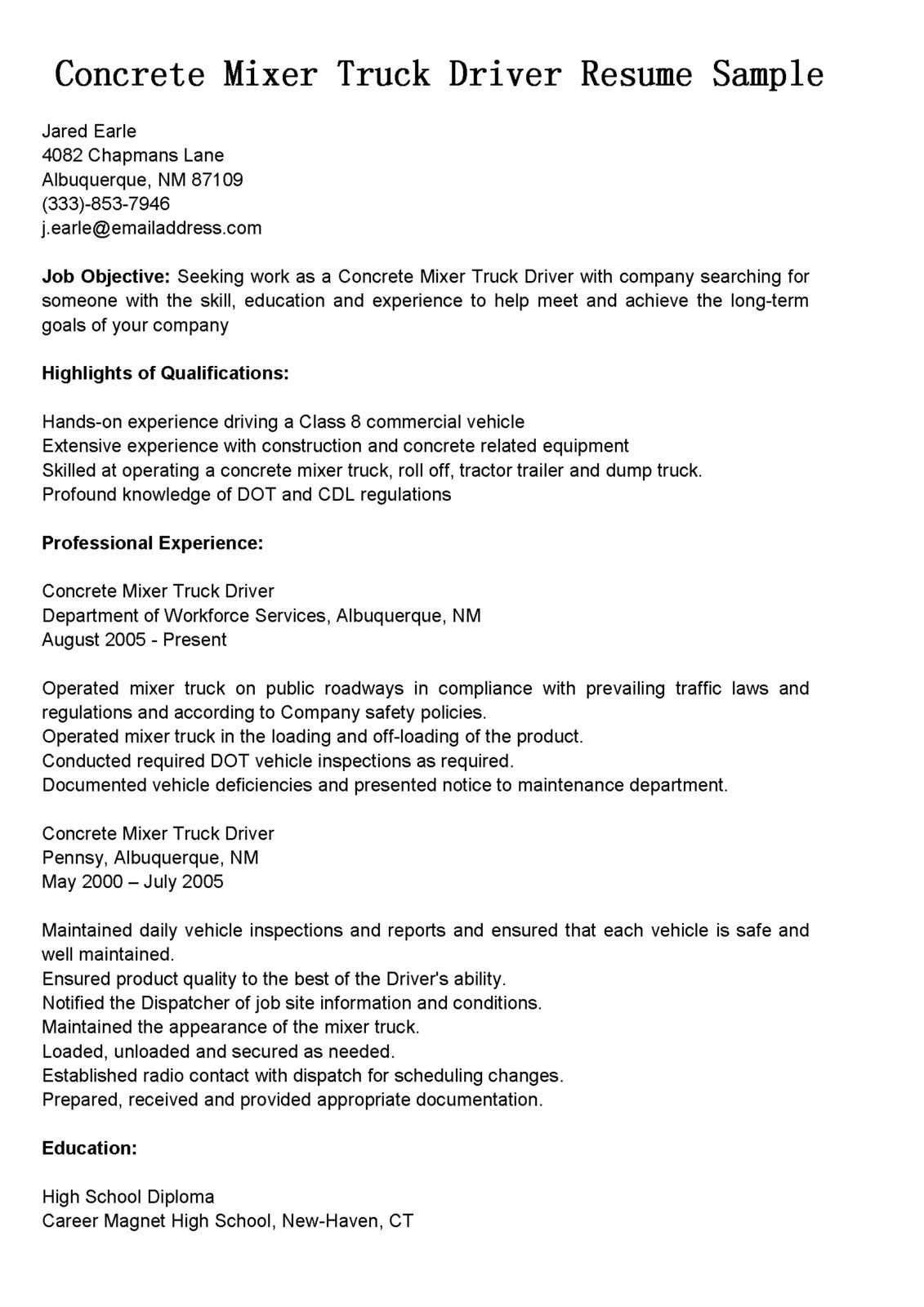 Driver Resumes Concrete Mixer Truck Resume Sample Bus Writing