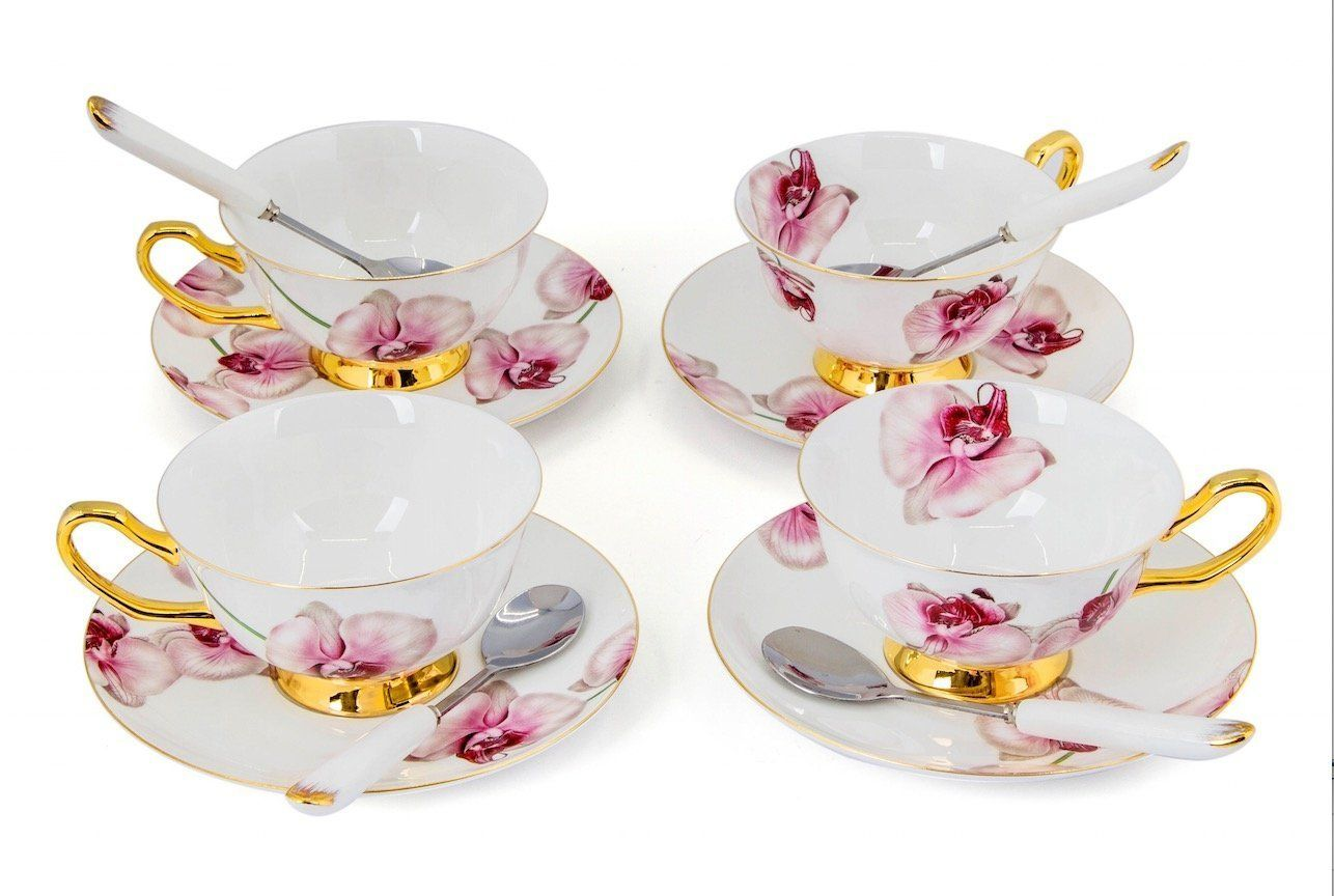 Porcelain Tea Cup and Saucer Coffee Cup Set White color with Saucer and Spoon