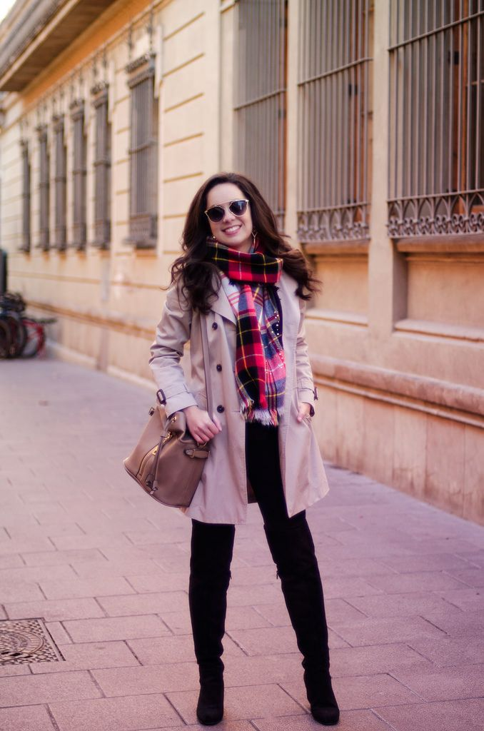 Cómo combinar una bufanda de cuadros | Pashminas | Pinterest ...
