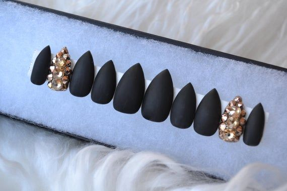 Photo of Matte black with gold Swarovski crystal accent nails |Any size or shape|Fake nails|glue on nails|Press on nails|Matte nails|Stiletto nails