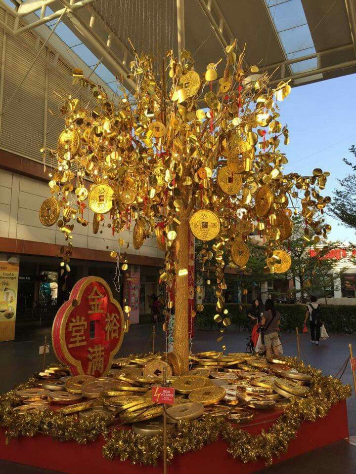 Christmas Tree A Golden Money For Chinese New Year
