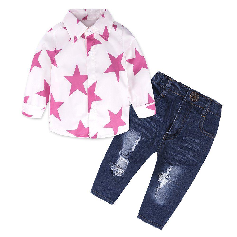 7bae86046610 2pcs Baby Girls  Long Sleeve Pink Star Shirt Top+Fashion Jeans Set. Package