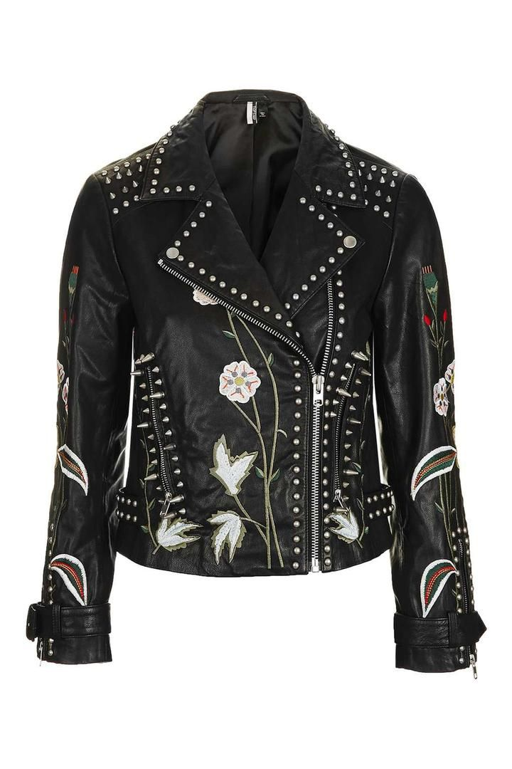 TopShop Embroidered Leather Jacket