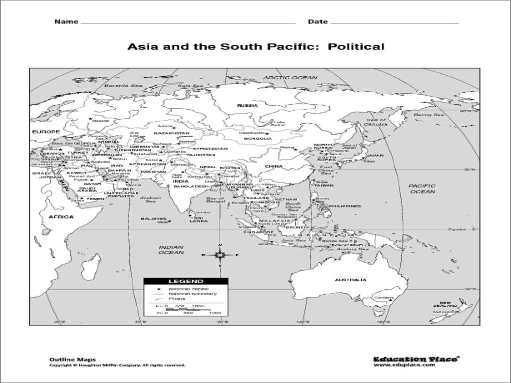 Asia And The South Pacific Political Map Asia And South Pacific Political Map #2 | Map, Nautical chart
