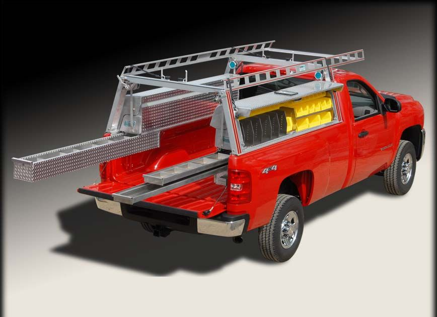 Pick up truck ladder rack / truck rack w truck tool boxes ...