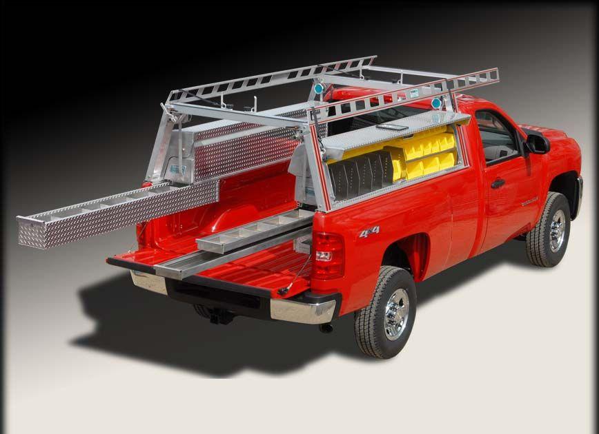 Pick Up Truck Ladder Rack Truck Rack W Truck Tool Boxes And Drawers Truck Tool Box Truck Tools Truck Boxes