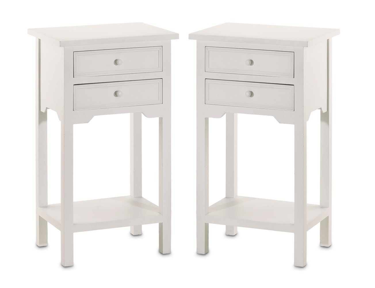 Amazon Com Set Of 2 Wood White End Tables Nightstands With Two