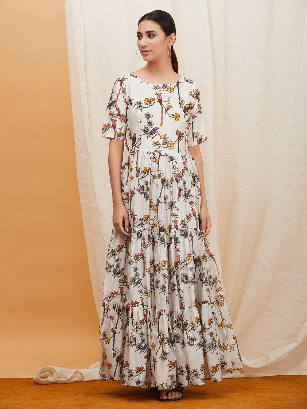 96d3390ab0 Buy Off White Floral Printed Chanderi Maxi Dress online at Theloom