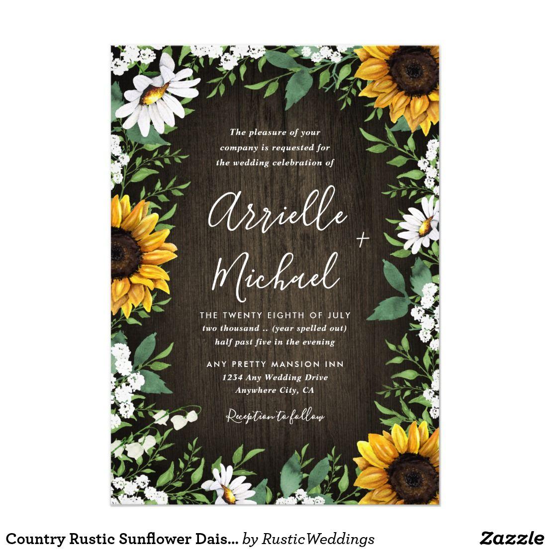 Country Rustic Sunflower Daisy Wedding Invitations Zazzle Com Daisy Wedding Invitations Sunflower Wedding Rustic Sunflower Wedding