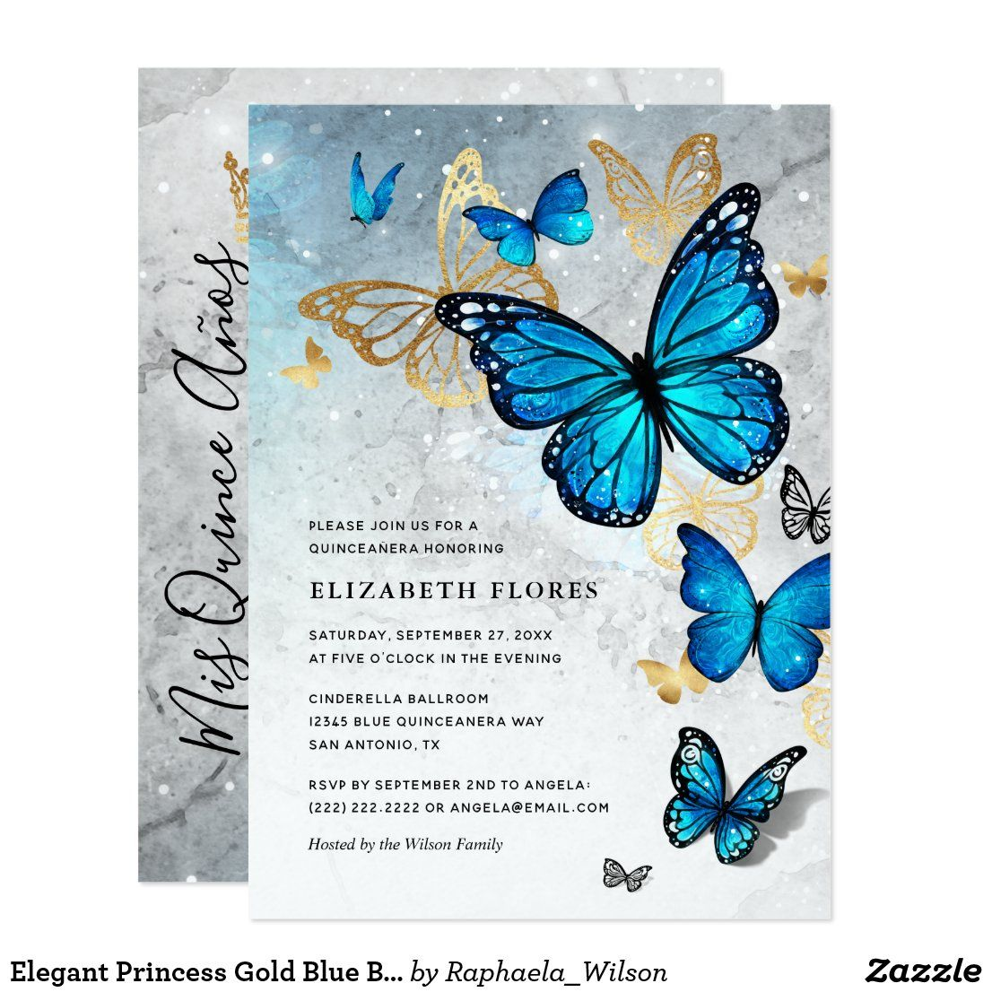 Elegant Princess Gold Blue Butterfly Quinceanera