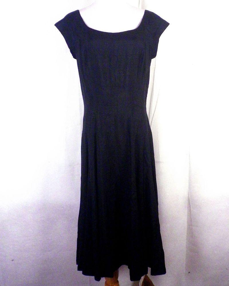 H&m green lace dress  vtg s Paul Parnes Russeks Black Flecked Silk Dress Circle Skirt