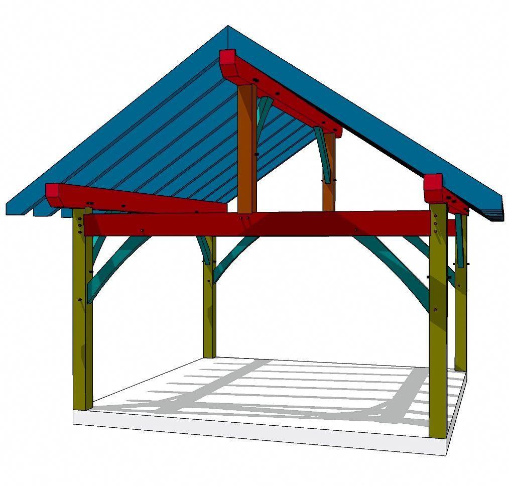 Construction Pergola Bois Plan 16x16 king post plan | deck with pergola, pergola designs