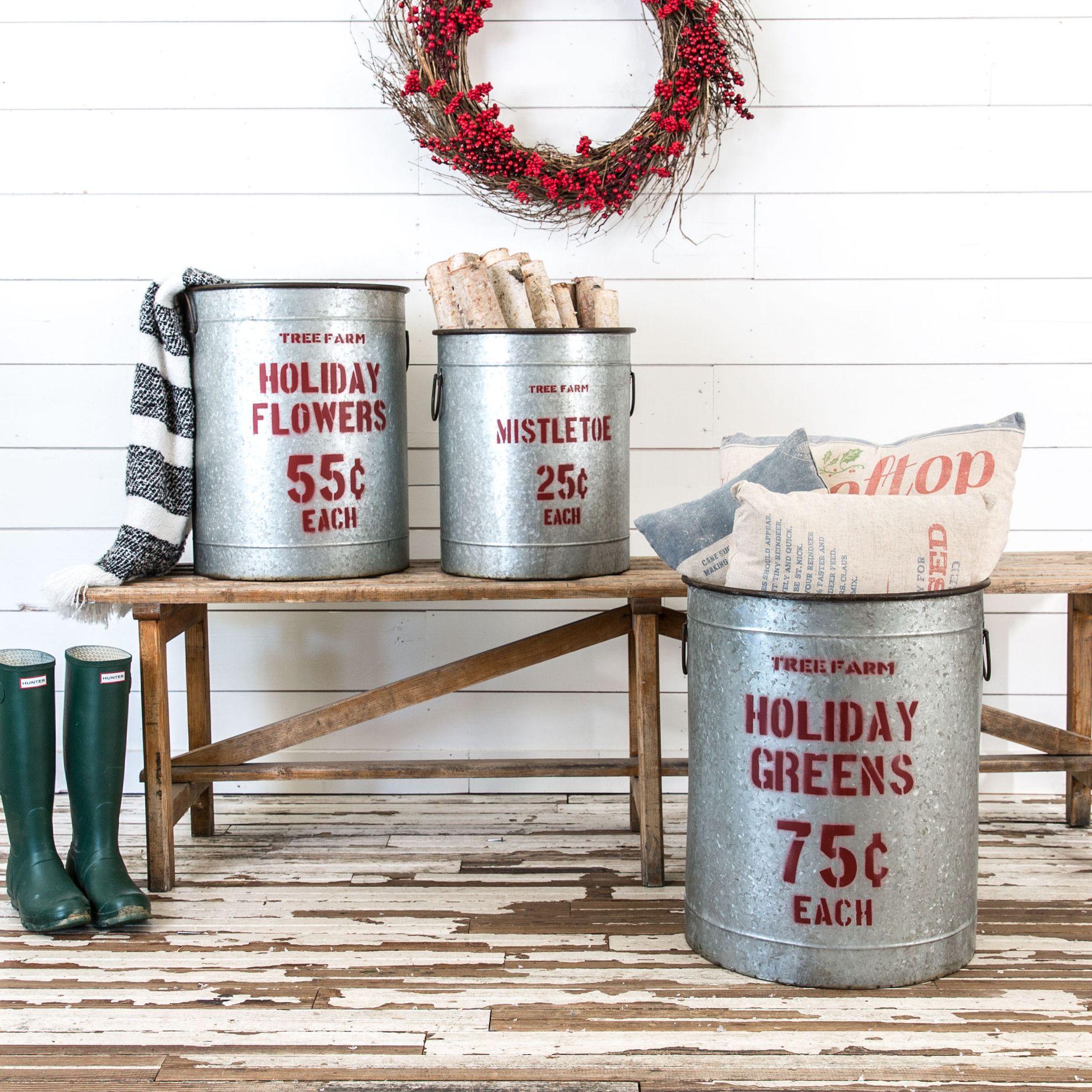 Tin christmas canisters christmas decor magnolia for Decorating tins for christmas