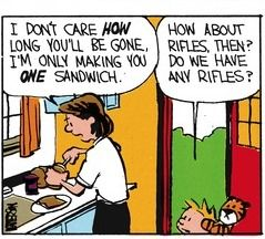 """Calvin and Hobbes QUOTE OF THE DAY (DA): """"How about rifles, then? Do we have any rifles?"""" -- Calvin/Bill Watterson"""