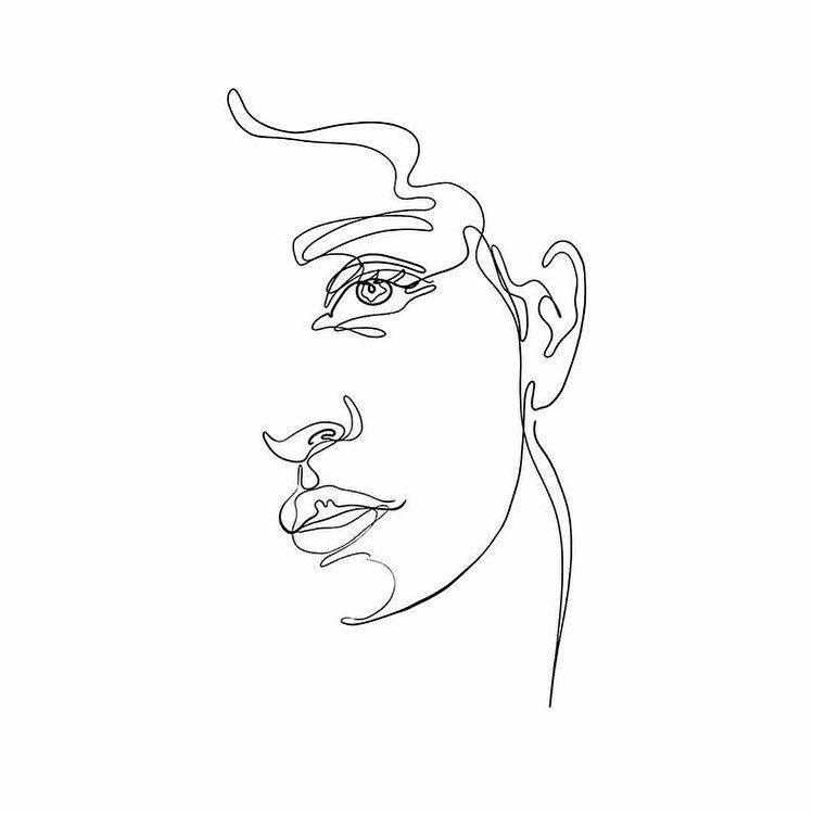 Simple Portrait One Line Drawing Line Art Drawings Line Artwork