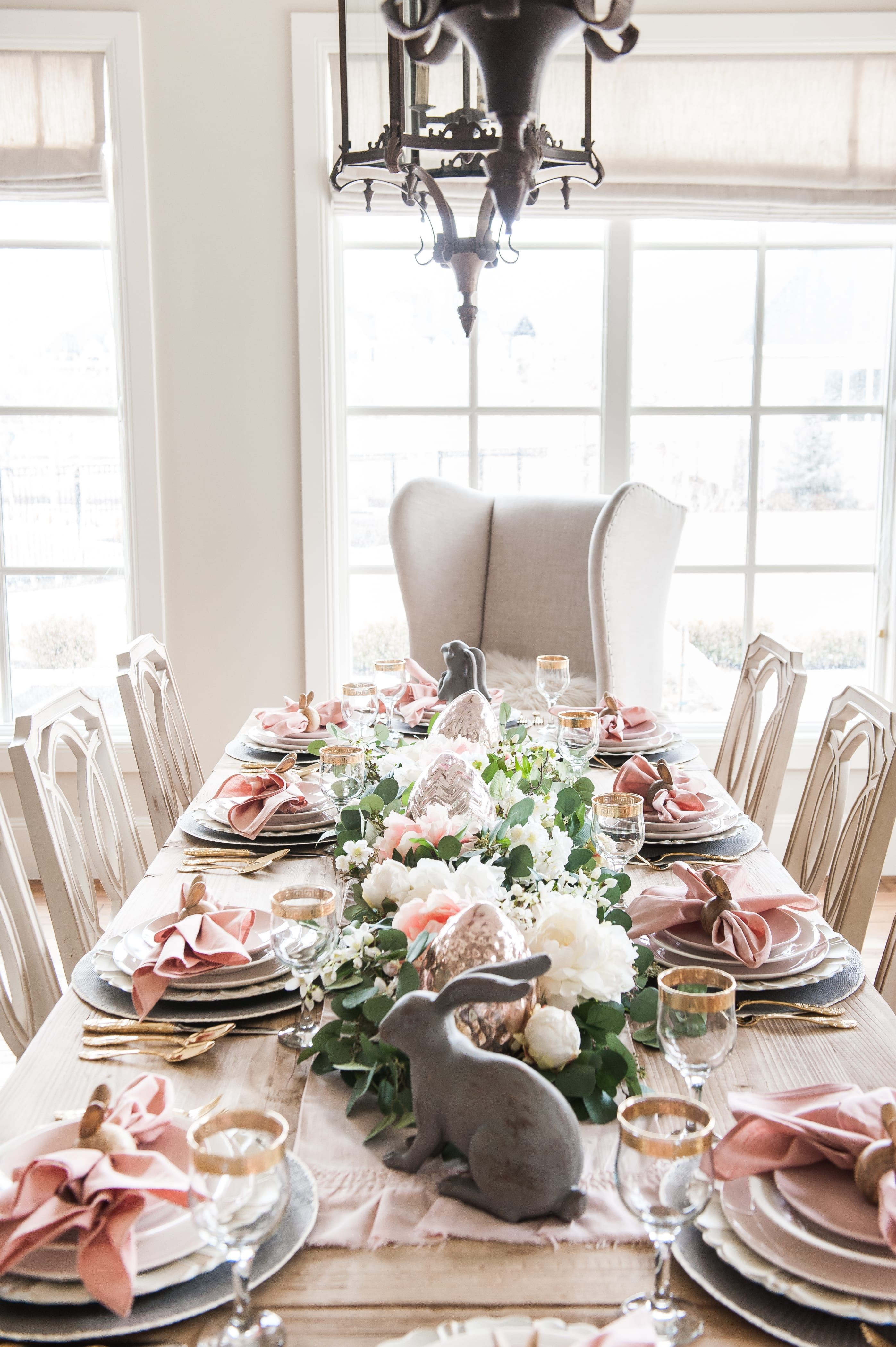 Pink And Gray Easter Tablescape Home With Holly Spring Table