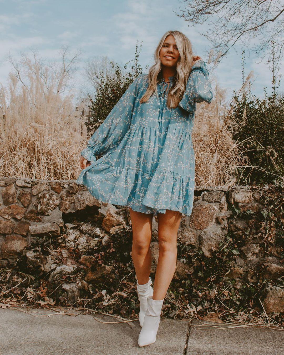 Romantic Type Slate Blue Floral Print Tiered Babydoll Dress Carefree Fashion Fashion Long Sleeve Babydoll Dress [ 1349 x 1080 Pixel ]