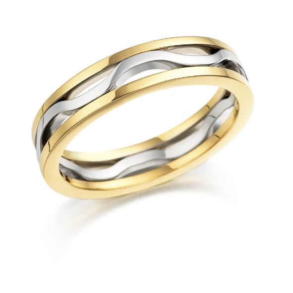 18ct Yellow And White Gold Single Wave Ring