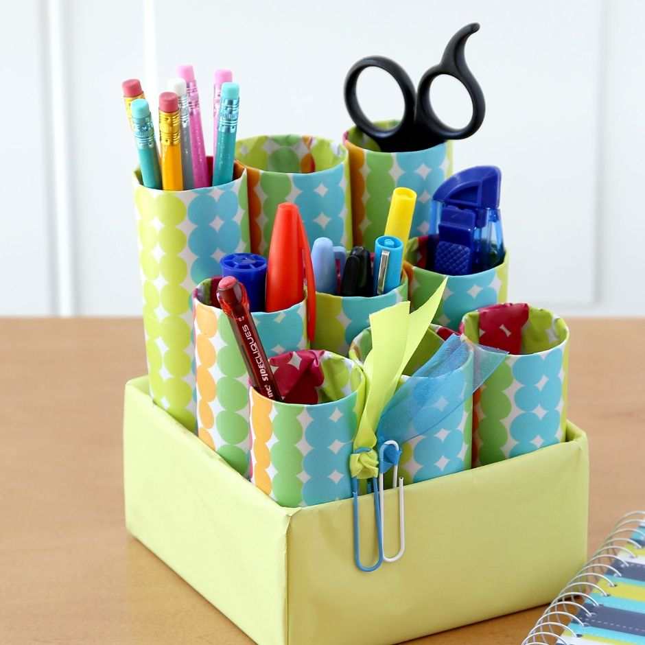 Desk Caddy Fit The Cardboard Tubes To Your Box To Make The
