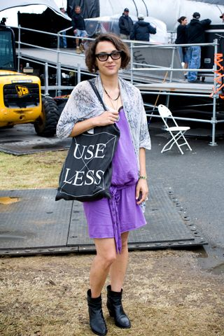 STYLE NOTES: ALL POINTS WEST.     Name: Masha Orlov.   Wearing: Obesity and Speed dress, vintage slip, Nicolas Andreas Taralis boots, Oliver Peoples sunglasses, vintage necklace, black pearl earrings, Ksubi bag.   Style: Jersey City rock festive.   Came to see: Cat Power