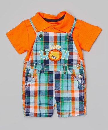 Orange Polo & Plaid 'Little Lion' Overalls - Infant by BOYZ WEAR #zulily #zulilyfinds