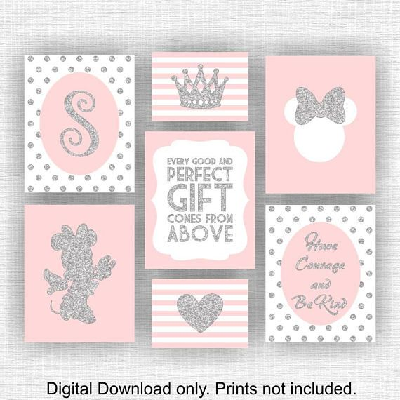 The Glittery World Of Silver Bedroom Ideas: Pink And Silver Glitter Minnie Mouse Monogram Crown Heart