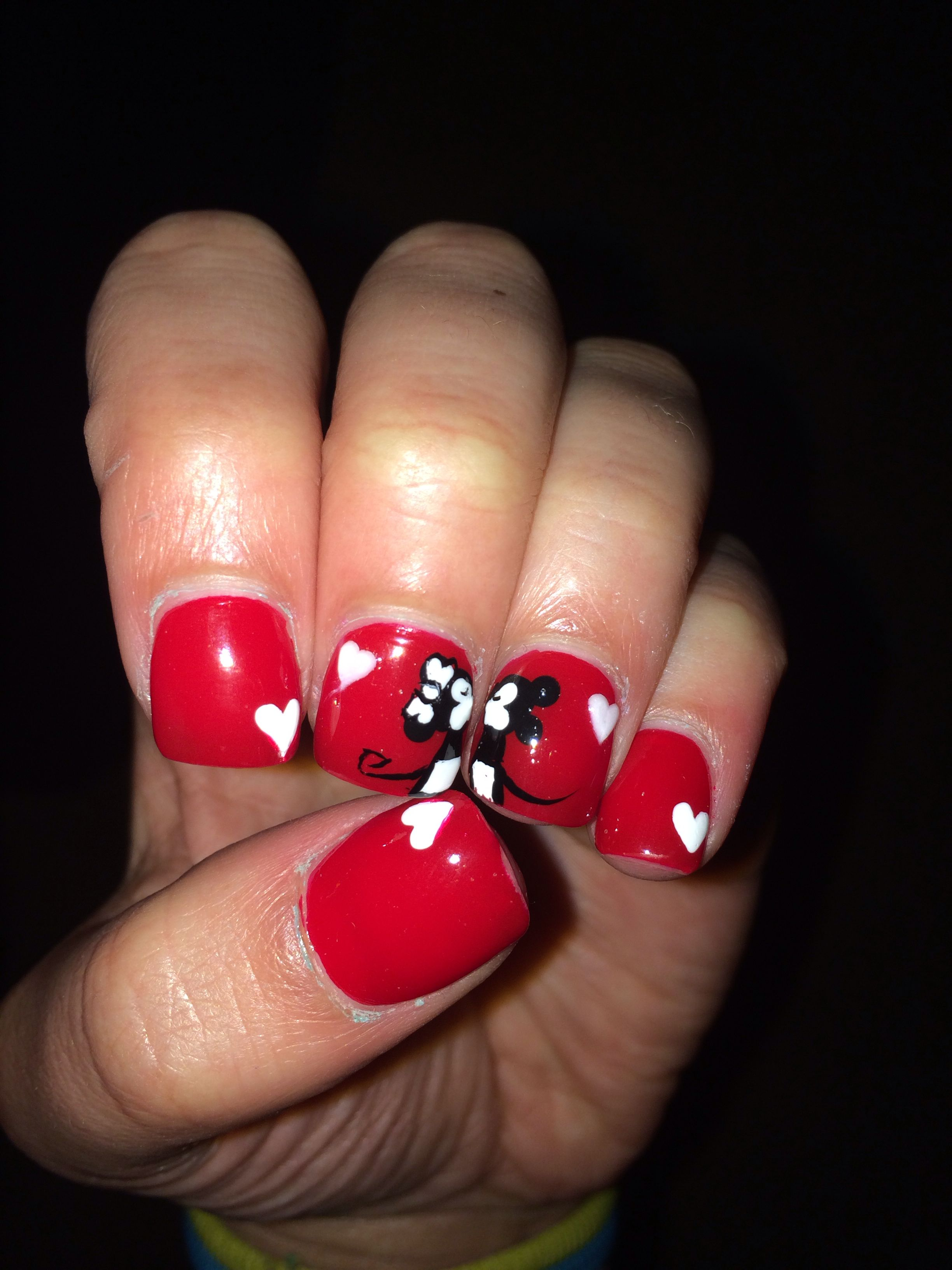 Mickey kissing Minnie Valentines Day nail art! ❤ ❤ ❤ all hand ...
