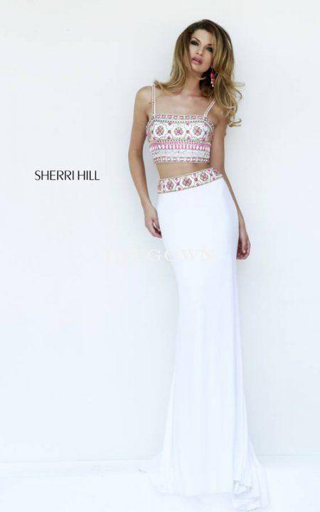 Ivory 2016 Sherri Hill 11213 Two Piece Beaded Straps Prom Dress