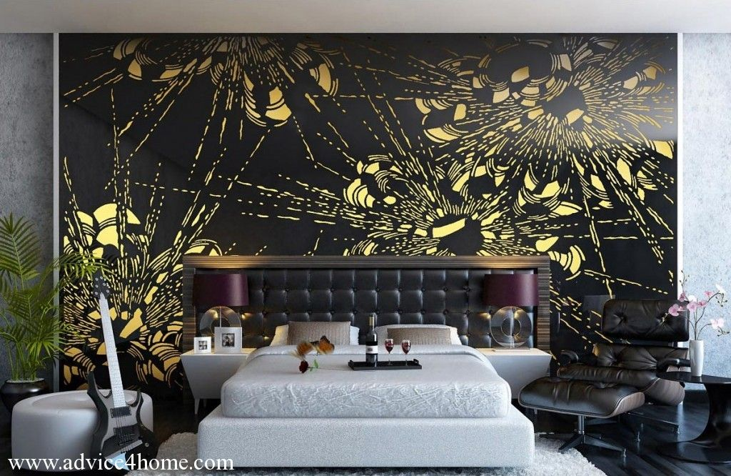 Interior Decor Black Gold White Bedroom Wall Decor Bedroom Bedroom Murals Wall Murals Diy