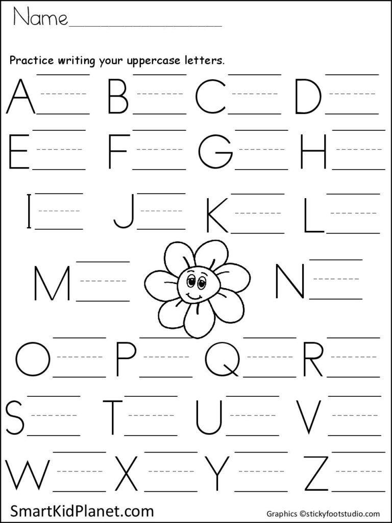 Print Practice Uppercase Letters Spring Flower Smart Kid Planet Writing Practice Kindergarten Printing Practice Letter Practice Kindergarten Kindergarten capital letters worksheet