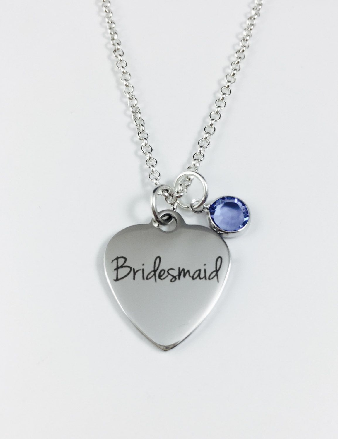 Bridesmaid heart necklace with swarovski crystal birthstone laser bridesmaid heart necklace with swarovski crystal birthstone laser engraved pendant stainless steel pendant aloadofball Gallery