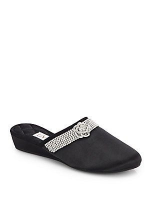 LMN / Luxe Me Now Camellia Embellished Black Satin Slippers