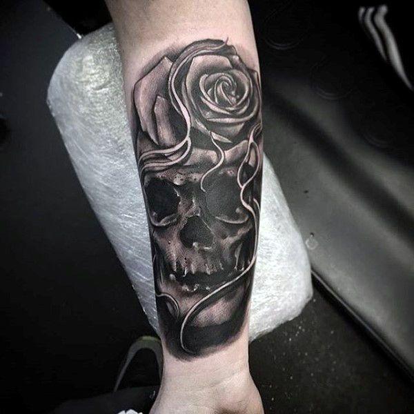 Skull Rose Forearm Sleeve Tattoos For Guys Eye Catching Tattoos
