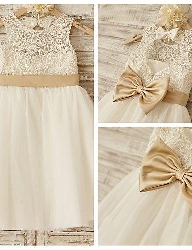 9c4f14aff90 Princess Knee Length Flower Girl Dress - Lace   Tulle Sleeveless ...
