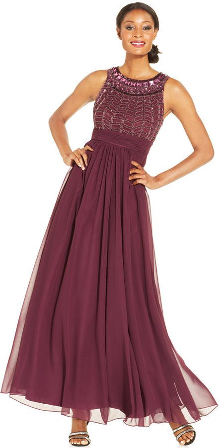 JS Collections Sleeveless Beaded Empire-Waist Gown $299.00 $133.99 ...